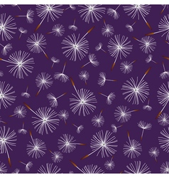 Dark blue seamless pattern with dandelion fluff vector image vector image