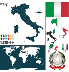 Italy map world vector image