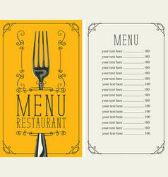 restaurant menu with price list and realistic fork vector image vector image