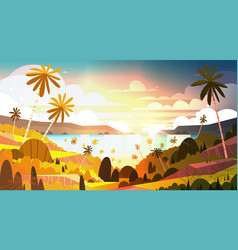 sunset on tropical beach beautiful landscape vector image vector image