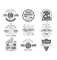 Vintage car service badges garage repair labels vector image