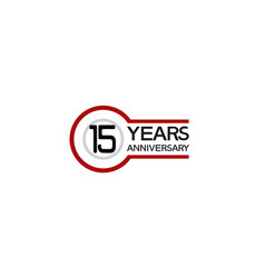 15 years anniversary with circle outline red vector
