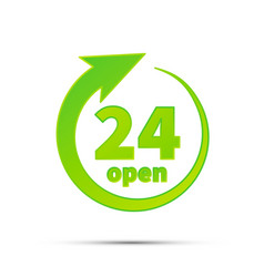 24 hours open bright green simple icon on white vector image