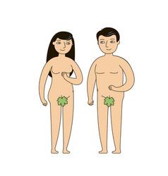 Adam and eve biblical narrative human origin vector