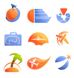 agency travel logo set cartoon style vector image