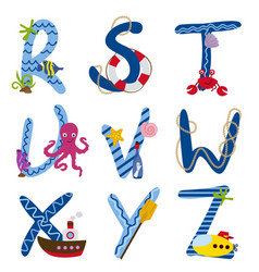 Alphabet nautical from r to z vector