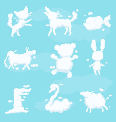 animal clouds white silhouette set kid vector image
