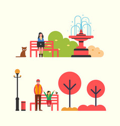 autumn season scenery with people in flat style vector image