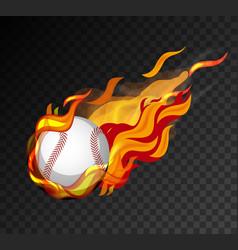 baseball on fire shooting on black background vector image