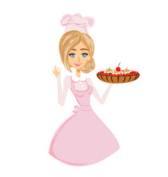 Beautiful lady confectioner serves chocolate cake vector