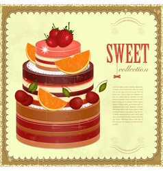 Big Chocolate Fruit Cake vector image
