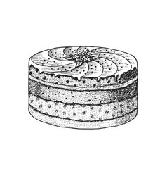 birthday cake layered fruit dessert or tart hand vector image