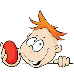 boy holding red egg in hand peeking out vector image