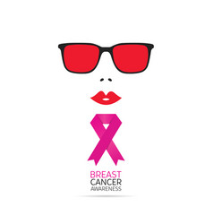 Brest cancer awareness symbol with woman face vector