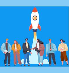 Business partners successful team investors make vector