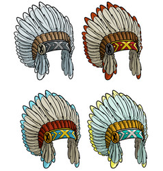 Cartoon native american indian chief headdress set vector