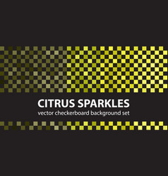 Checkerboard pattern set citrus sparkles vector
