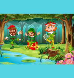 Christmas elf in forest vector