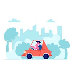 City traffic man driving car on urban cityscape vector