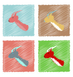 Collection of flat shading style icons deer head vector