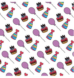Color cake candles with hats and balloons vector