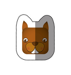 colorful face sticker of squirrel in square shape vector image