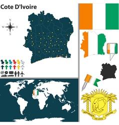 Cote dlvoire map world vector