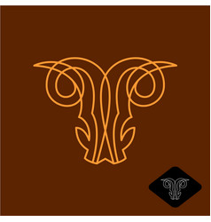 Demon goat head line style logo satan ram scary vector