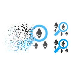 Disintegrating dot halftone search ethereum icon vector