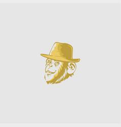 face monkey on grey background vector image