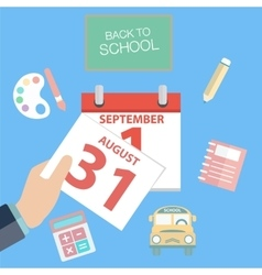 First day of school calendar showing 1st vector image