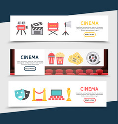 Flat cinema horizontal banners vector