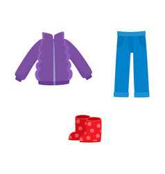 flat girl kid outfit apparel set vector image