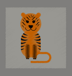 Flat shading style icon cartoon tiger vector