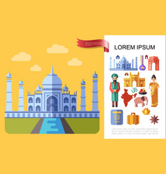flat travel to india concept vector image