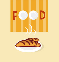 French baguettes cartoon menu cover vector