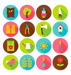 Gardening Tools Circle Icons Set with long Shadow vector