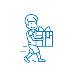 giving a gift linear icon concept giving a gift vector image