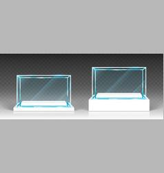 Glass showcase display exhibit transparent boxes vector