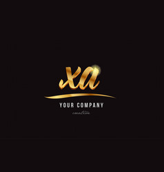 Gold alphabet letter xa x a logo combination icon vector