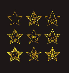 golden geometric stars in the art deco style vector image