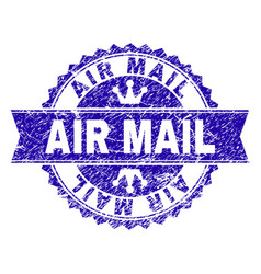 grunge textured air mail stamp seal with ribbon vector image