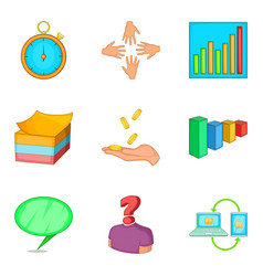 Handout icons set cartoon style vector