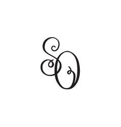 handwritten monogram so icon vector image