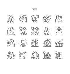 Health workers pixel perfect vector