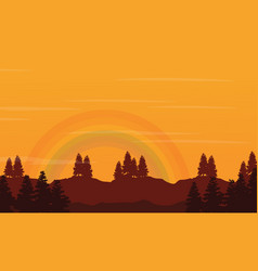 hill with rainbow beauty landscape silhouettes vector image