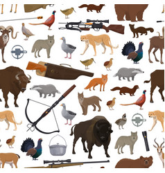 hunting sport items animals and birds pattern vector image