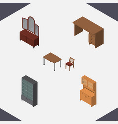Isometric furnishing set of drawer cupboard vector