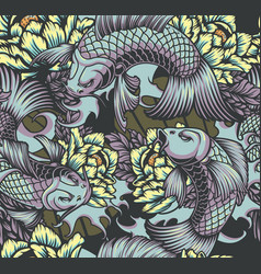 japanese style seamless color pattern with koi vector image