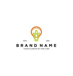 Leaf lamp logo design vector